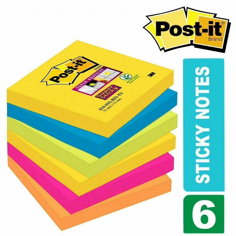 Post-it Super Sticky Notes Rio De Janeiro Collection 76 mm x 76 mm Pack of 6